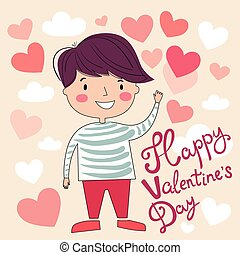 Valentine's day illustration with funny boy and hearts