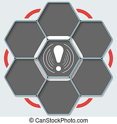Set of seven hexagons for your text and exclamation mark