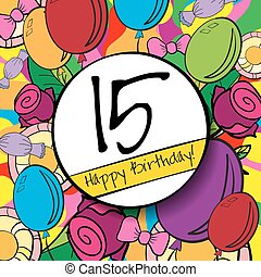 15 Happy Birthday background or card with colorful...