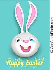 Bunny in Happy Easter background