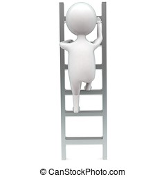 3d man climbing up ladder concept in white isolated...