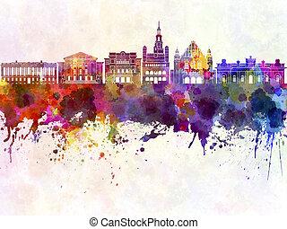 Poznan skyline in watercolor