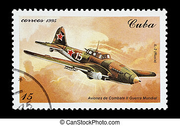Ilyushin IL-2 - mail stamp printed in Cuba featuring a WW2...