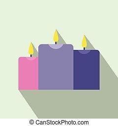 Burning candles flat icon
