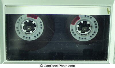 Audio Cassette Player - Vintage tape recorder plays the tape...
