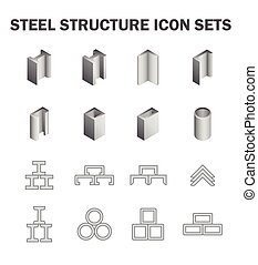 Steel structure icon - Steel structure and pipe icon sets