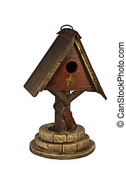 wishing well bird house isolated with clipping path at this...