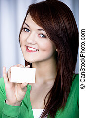 girl with bank card - portrait of a girl with bank card