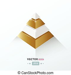 3D pyramid business Infographic Golden