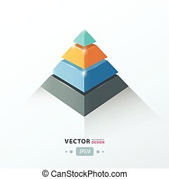 3D pyramid business Infographic orange, blue and black