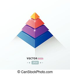 3D pyramid business Infographic pink, blue, orange, Purple...