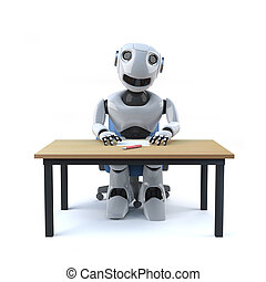 3d Robot worker sits at desk - 3d render of a robot sitting...
