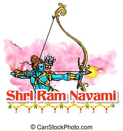 Lord Rama with bow arrow in Ram Navami - illustration of...
