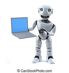 3d Robot holding a laptop - 3d render of a robot holding a...