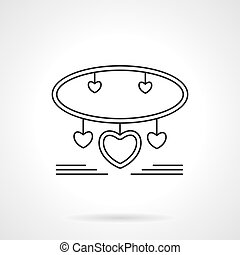 Bracelet with hearts flat line vector icon