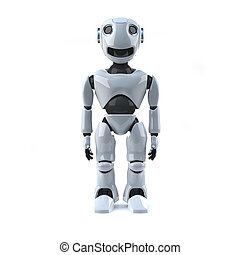3d Robot stands straight - 3d render of a robot standing...