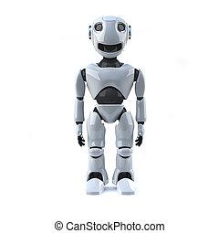 3d Robot stands straight - 3d render of a robot standing...