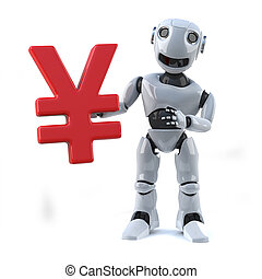 3d Robot holding Japanese Yen currency symbol - 3d render of...