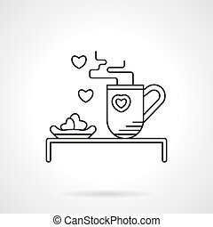 Tea for beloved flat line vector icon - Hot tea and heart...