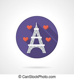 Round flat color romantic travel vector icon - Eiffel Tower...