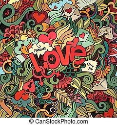 Love hand lettering and doodles elements background Vector...