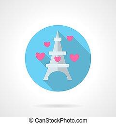 Paris symbol round flat vector icon - Romantic tour to Paris...