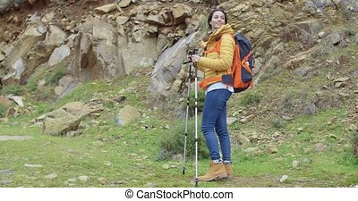 Active fit young woman on a hiking trail - Active fit young...