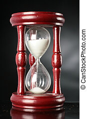 Time concept - Time concept with hourglass over black...
