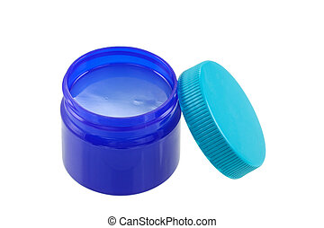 Blue green jar full of mentholated topical ointment - A...