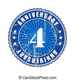 4  Years anniversary stamp.