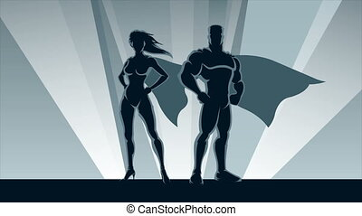 Superhero Couple Loop - Animation of male and female...