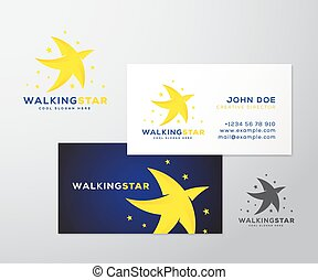 Walking Star Abstract Vector Logo and Business Card Template...