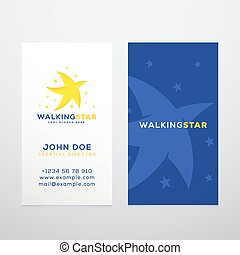 Walking Star Abstract Vector Business Card Template or...