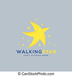 Walking Star Abstract Vector Icon, Symbol or Logo Template...