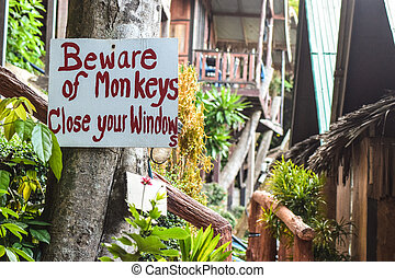 Warning sign - Beware of monkeys - This sign illustrates...