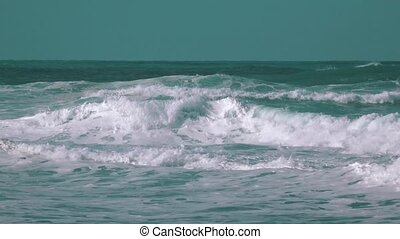 Big Ocean Waves Breaking on Shore, storm weather