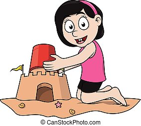 Girl builts sand castle eps 10 cartoon illustration
