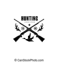 Hunting Vintage Emblem with Horns and Guns - Hunting Vintage...