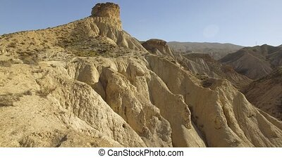 4k Aerial View in the desert, Sierra Alhamila, Spain -...