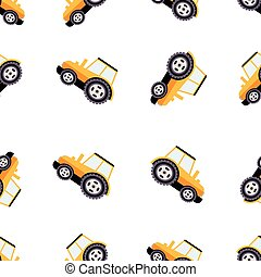 Work Trucks Seamless Pattern. Flat Vector Illustration