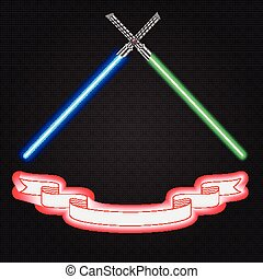 Crossed light swords futuristic, star war and ribbon emblem,...
