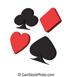 Playing card suit in black and red cartoon icon on a white...