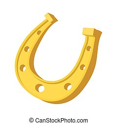 Golden horseshoes luck symbol cartoon icon