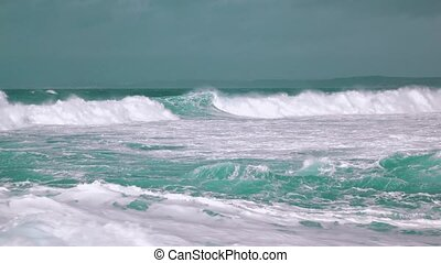 Big Ocean Waves Breaking on Shore, storm weather