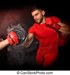 personal trainer man coach and man exercising boxing in the...