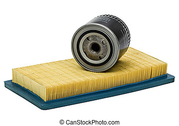 Car filters close-up, auto spare part, isolated on white...