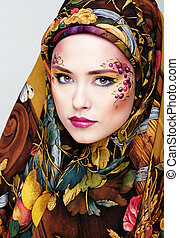 portrait of contemporary noblewoman with face art creative...