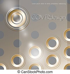 Vector cover design with metal holes on transperent...