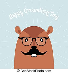 Happy Groundhog Day Vector Card - Happy Groundhog Day Card....