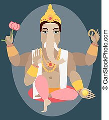 illustration of statue Lord Ganesha - illustration statue of...
